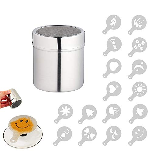 Pulver Streuer, Kaffee Kakao Puder Streuer mit feinem Ineinander greifen, für das Backen u. Kochen...