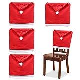 Lifreer - Set di 4 coprisedie a tema natalizio per sala da pranzo, cucina, colore: rosso