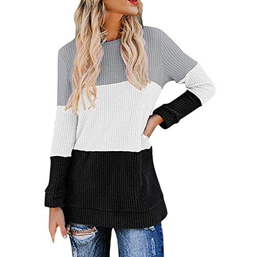 H-fragrance Pullover Damen Sexy,Beiläufige Hoodies Weisewunden Patchwork Damen mit Kapuze Blusen Pullover Mantel