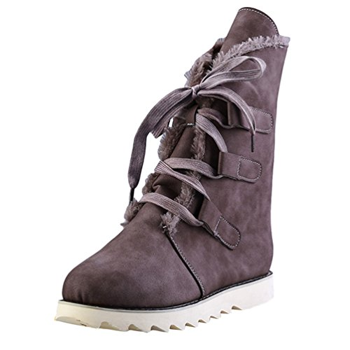 Anguang Damen Stiefel Flache Ankle Gefüttert Warm Stiefel Winter Schneeschuhe Braun 38