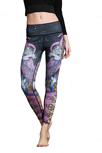 Women Fashion Tights Yoga Pants Ladies Super Soft Printing Running Sweatpants Pilates Dancing Fitness Pants (Medium, Purple)
