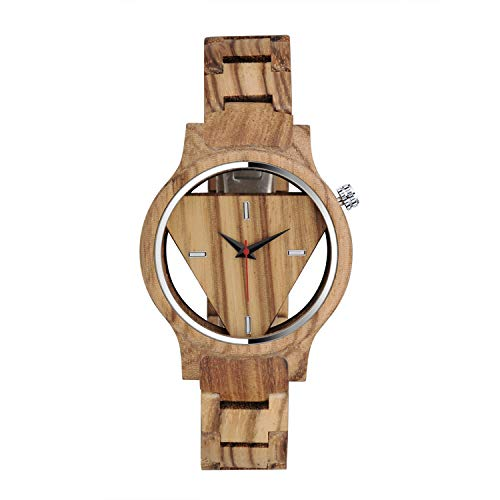 MICGIGI Orologio analogico al quarzo, da uomo/donna, in legno di bambù, con cinturino in legno