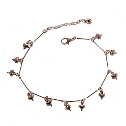 Gaoominy Hearts Bell Anklet Chain Ankle Bracelet Link Rose Gold HOT