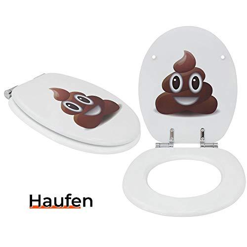 Toilettensitz WC-Sitz mit Absenkautomatik und verzinkten Scharnieren - Klobrille Klodeckel Toilettendeckel aus MDF … (Haufen)