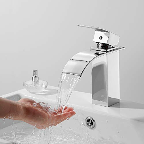 THEEIERCE Wasserfall Wasserhahn Bad, Wasserhahn Waschbecken für Badezimmer, Einhandmischer Waschtischarmaturen, Mischbatterie Waschbecken, Kaltes und Heißes Wasser Vorhanden, Verchromt (Silber)