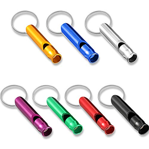 49 Pieces Emergency Whistle with Keychain, Aluminum Keychain Whistle Emergency Survival Whistle Key Chain for Outdoor Camping Hiking Boating Hunting Fishing, 7 Colors