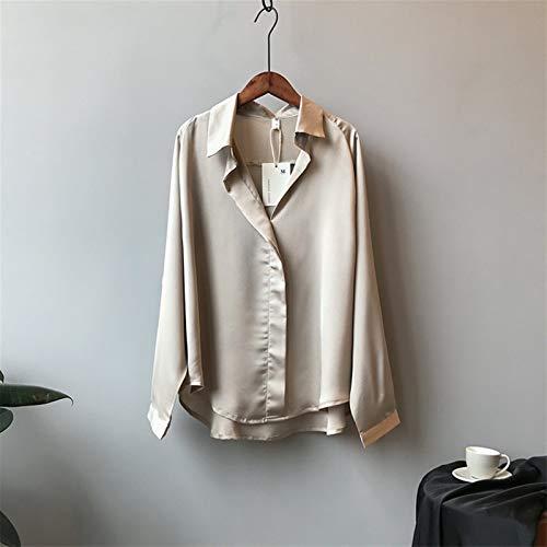 ROTAKUMA Chemisier Occasionnel Femmes Manches Longues Tops Chemises Élégante Blouse De Soie Sexy (Color : Champers, Size : Medium)