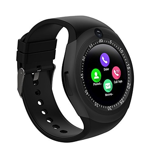 04188ca4b WELLTECH Y1S 1.54Inch Round Bluetooth Smartwatch for All Android and iOS  Devices (Black)