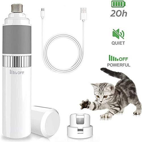 Queta - Lima per unghie per gatti e cani, taglia unghie elettrica, 2 velocità, USB, caricabatterie, tagliaunghie