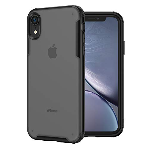 MRYUESG Compatible with iPhone XR Case, [Military Grade Drop Tested] Translucent Matte Hard PC Back with Soft Silicone Edges, Shock-Proof Bumper, Heavy Duty Protective, Slim Thin Cover, Black
