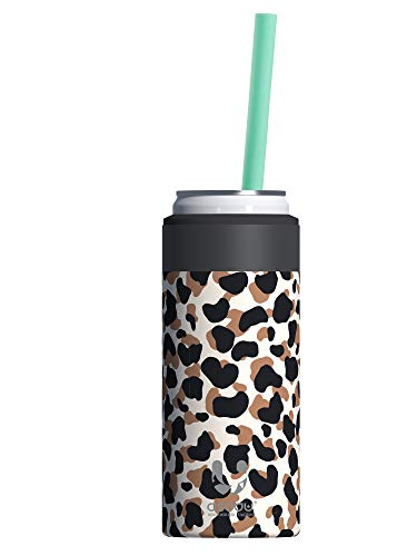 Asobu Skinny Can Cooler Insulated Stainless Steel Sleeve for a Slim 12 Ounce Can and Reusable Straw (Cheetah)