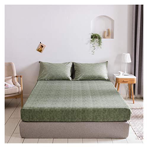 RHBLHQ Sábana Hoja Ajustada Verde Gris for el Protector del colchón Funda de Almohada de la Funda de Verano Cubierta de la Cama de Verano súper Suave sábanas con Banda elástica