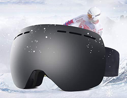 Hidewalker Skibrille Damen Herren Verspiegelt Anti-Fog Rahmenlose UV-Schutz Nacked Optics Ski Brille Helmkompatible Wechselobjektive Brille Für brillenträger Snowboard Skifahren (Schwarz VLT 15.8{a60f529d7b5c82a2c62df683fc611a3c75c80c0837a7430af203878405b433a8})