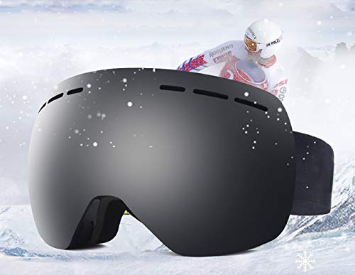Hidewalker Skibrille Damen Herren Verspiegelt Anti-Fog Rahmenlose UV-Schutz Nacked Optics Ski Brille Helmkompatible Wechselobjektive Brille Für brillenträger Snowboard Skifahren (Schwarz VLT 15.8%)