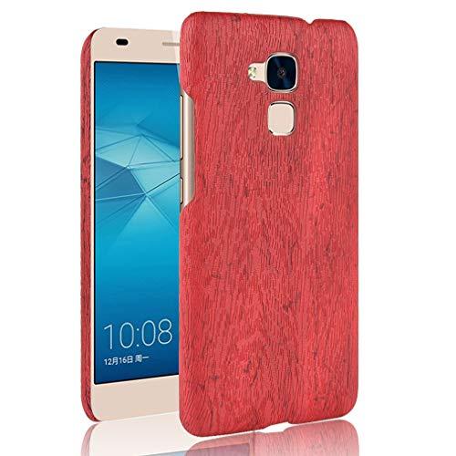 LMFULM® Hülle für Honor 5C / Huawei 7 Lite/Huawei GT3 (5,2 Zoll) Holz Außerhalb Harter PC Stoßfänger Silikon Hülle Dünner Handyhülle Dünne Rückseitige Abdeckung für Honor 5C / 7 Lite /GT3 Rot