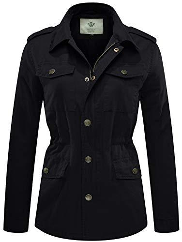 WenVen Women's Lightweight Active Outdoor Military Jacket, Black, L