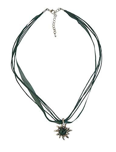 Sonnenscheinschuhe® Kette Edelweiss Dunkelgrün Trachtenkette Halskette Anhänger Oktoberfest Dirndl Schmuck
