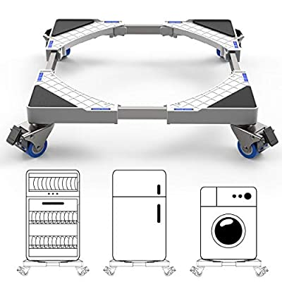 DEWEL Multi-functional Movable Adjustable Base with 4×2 Locking Rubber Swivel Wheels Stent Durable Heavy Load 300kg Mobile Case Roller Dolly for Washing Machine,Dryer and Refrigerator
