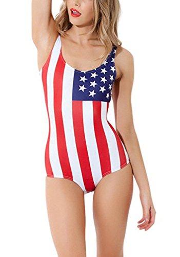 Lashaper Women's Patriotic American Flag Stars Stripes Swimsuit Leotard, Medium