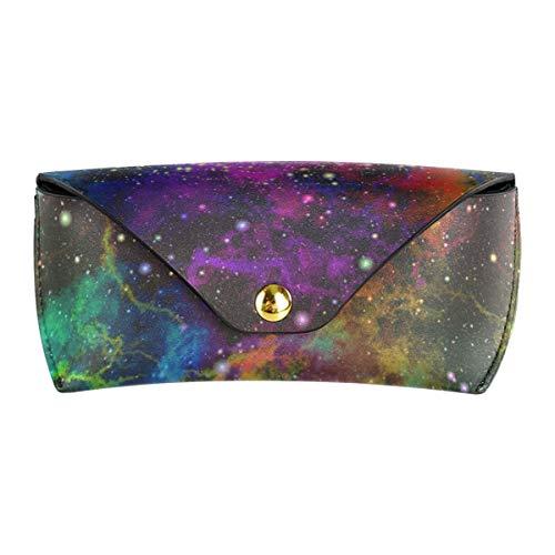 XiangHeFu Draagbare multiuse zonnebril, val, brillen, zakje, school, kleurrijke mist, sterrenhemel, ruimte, ogen, universum, PU-leer, briltas