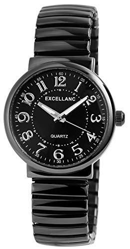 Excellanc Damenuhr Schwarz Zugband Zugarmband Analog Metall Arabische Ziffern Armbanduhr