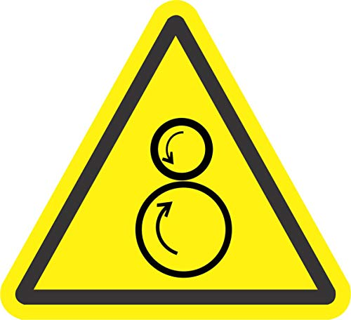 Etiqueta - Seguridad - Advertencia - ISO Safety Label Sign - International Warning counter rotating rollers Symbol - Self adhesive sticker 100mm Diámetro - oficina, empresa, escuela, hotel