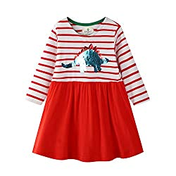 8. BIBNice Toddler Long Sleeve Cotton Dinosaur Dress