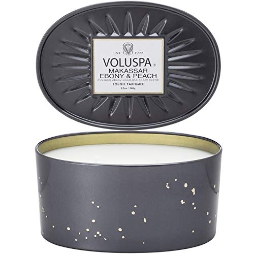 Voluspa Makassar and Ebony 2 Manufacturer direct Outlet SALE delivery Ounces Candle 12 Wick Tin