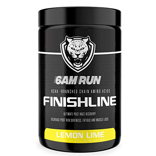 6AM RUN Finishline - Amino Energy Powder - Post Run Recovery Drink - Branch Chain Amino Acids Powder - Heal and Recovery Powder - Keto Post Workout Powder - Lemon Lime BCAA Powder - 50 Scoops