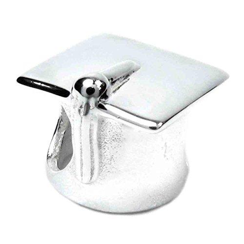 Queenberry >Abalorio con diseño de gorro de graduación, fabricado con de plata de ley, compatible con pulseras Pandora, Chamilia, Troll, Biagi y otras marcas europeas