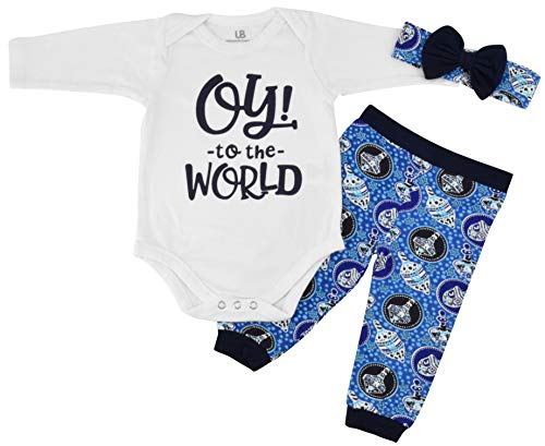 Unique Baby Girls Oy! to The World Hanukkah Layette Outfit Headband (Newborn) Blue