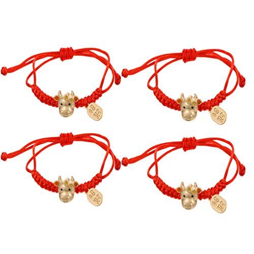PRETYZOOM 4 Unids Zodiaco Chino Ox Charm Pulsera Año Nuevo Feng Shui Cow Charm Pulseras Cuerda Roja Trenzada para Mujeres Niñas Joyería Rojo