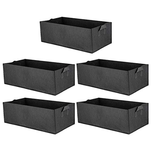 Haoun 5 Pack Fabric Raised Garden Bed,Square Garden Flower Grow Bag Vegetable Planting Bag Planter Pot with Handles for Plants,Flowers,Vegetables - Black