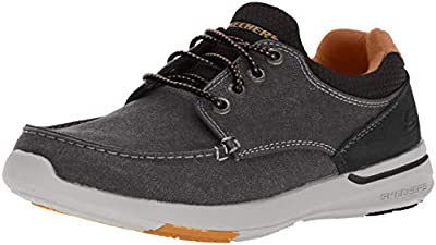 Skechers Men's Relaxed Fit-Elent-Mosen Boat Shoe,black,10 Extra Wide US