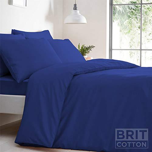 Sitara Trading Ltd T168 Duvet Cover Set Easy Care Polycotton Plain Dyed Bedding Uk Bed Size Royal Blue SINGLE