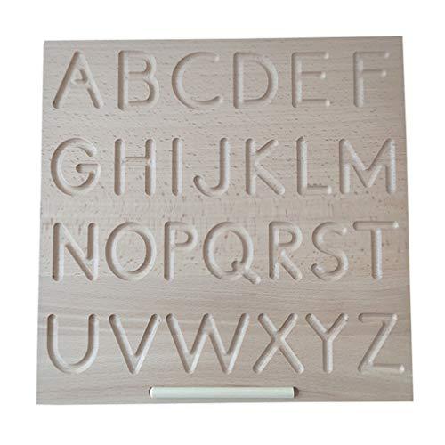 NUOBESTY Holz Alphabet Buchstaben Tracing Board mit Stift Alphabet Buchstaben Verfolgungskarten Pädagogische ABC Briefe Lesen Schreiben Lernen Vorschule Spielzeug für Jungen Und Mädchen