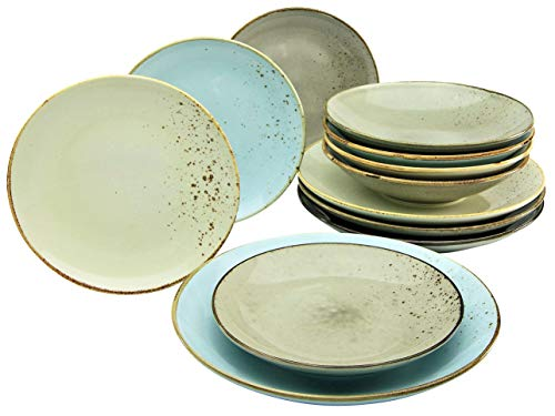 Creatable 20965, Serie Nature Collection SKANDINAVIEN, Geschirrset, Teller Set 12 teilig, Steinzeug