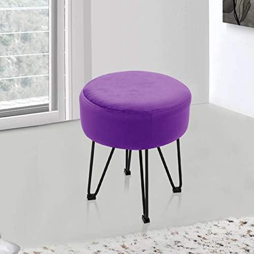 MWPO Repose-Pied Rond Repose-Pieds Pouf en Tissu Velours Pouf tabourets pour Salon Chambre Chaise Basse avec 4 Pieds en métal (Gris) Purple