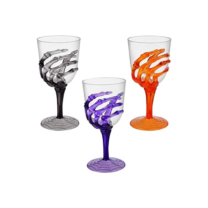 Halloween Skeleton Hand Plastic Goblets Champagne Flutes Stemless Cups Perfect For Creepy Spooky Halloween Decorations And Haunted House Choose Set Of 3 Each Goblets Set Of 3