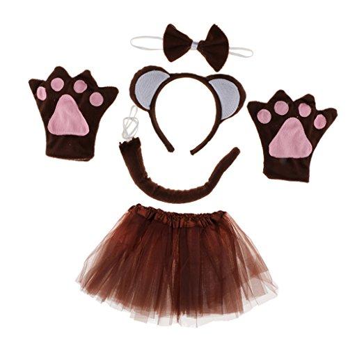Unbekannt MagiDeal Kinder Affe kostüm Set - Affen Ohren Stirnband, Fliege, Handschuhe, Schwanz und Tutu Rock für Fasching Karneval...