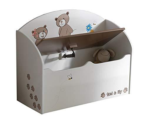 habeig Spielzeugtruhe Bär Truhe Kindertruhe Spielkiste Sitzbank Kiste Kinderbank für Kinderzimmer