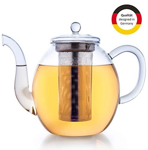 Creano Glas-Teekanne 1,0l, 3-teiliger Teebereiter mit integriertem Edelstahl-Sieb und Glas-Deckel, ideal zur Zubereitung von losen Tees, tropffrei, All-in-one