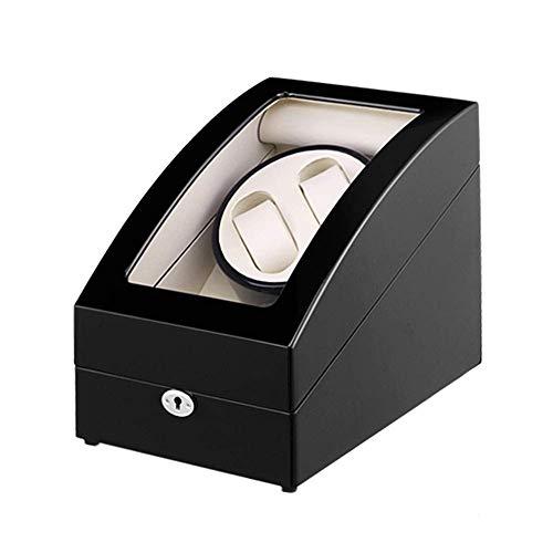 GUOOK GUOOK Unisex Uhrenbeweger, Für 2 Uhren + 3 Aufbewahrungsuhren Automatischer Uhrenbeweger Mit Schloss Uhrenbox 5 Rotationsmodi (Farbe: Schwarz)