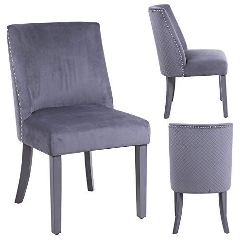 Juego de 2 sillas de Comedor PS Global Linoso, Respaldo Acolchado, Detalle Cosido Diamind, Terciopel