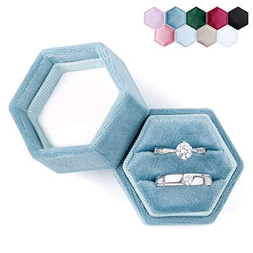 DesignSter Hexagon Velvet Ring Bearer Box - Premium Gorgeous Vintage Double Ring Display Holder with Detachable Lid for Proposal, Engagement, Wedding, Ceremony (Dark Blue)