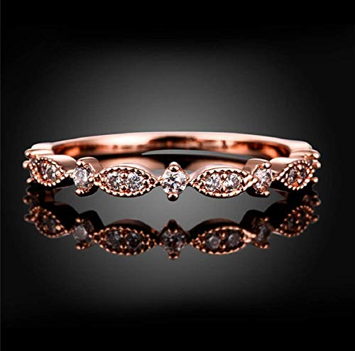 Xiaomei Twist Ring for Women Fashion 14K Solid Rose Gold Stack Twisted Ring Cubic Zirconia CZ Love Eternity Promise Ring Wedding Band Size 6-10 (Size 6)