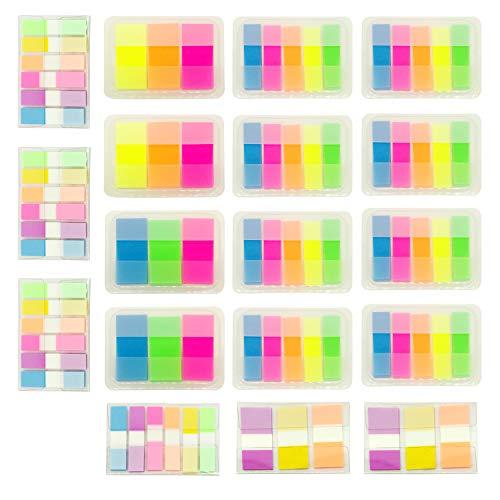 PietyPet 1640 Piezas Notas Adhesivas Índices 4 Tamaños Etiquetas Grabable Marcador de Página Tiras de Resaltador de Texto, 11 Colores