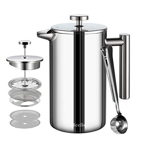 MeelioCafe Kaffeebereiter,1500ML French Press, Edelstahl Kaffeepresse Tee oder Cafetiere Kessel,mit 2 zusätzlichen Kaffeefilter,Silber