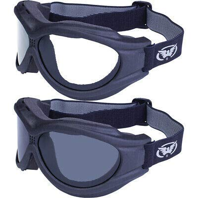 Global Vision Big Ben Goggles 2 Pairs Black Frames 1 Clear Lens 1 Smoke Lens