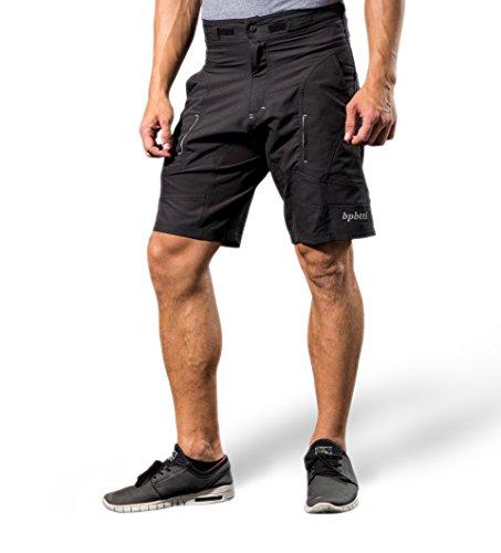 "bpbtti Herren-Mountainbike-Shorts mit abnehmbarem 3D-gepolstertem Innenfutter - Schwarz - Small - Taille 30-32"""